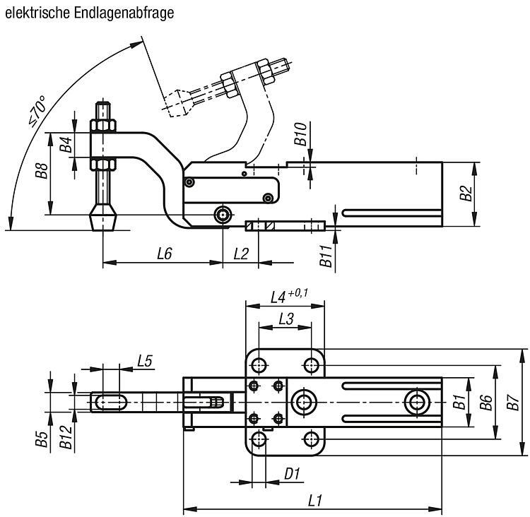 norelem - Minispanner mit elektrischer Endlagenabfrage (Magnet-Schalter)