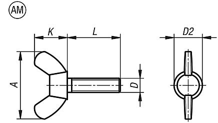 A2 blank amerikanische Form DIN 316 Flügelschrauben M 8 x 25